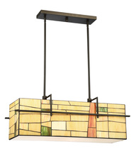 Lite Source Inc. C71396 - Pendant - Dark Bronze/Tiffany Shade, E27 Type A 60Wx4