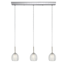 Eglo 200576A - 3x40W Multi Light Pendant w/ Matte Nickel  Finish & Satin & Clear Glass