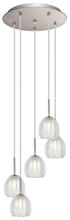 Eglo 200577A - 5X40W Multi Tier Pendant w/ Matte Nickel Finish & Satin & Clear Glass