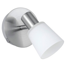 Eglo 89942A - 1x60W Wall Light w/ Matte Nickel Finish & White Glass