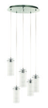Eglo 93545A - 5x6.7W LED Multi Light Staircase Pendant w/ Satin Nickel Finish & Clear & Satin Glass
