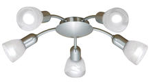 Eglo 27325A - 5x40W Ceiling Track Light w/ Matte Nickel Finish & Alabaster Glass